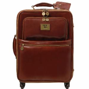 Valise Cuir Cabine Avion 4 Roulettes Marron  - Tuscany Leather -