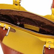 Nouvelle Collection  Sac Cabas Cuir FemmeJaune  -Tuscany Leather-
