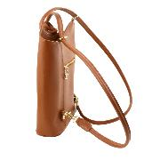 Sac à Dos Transformable Sac Bandoulière Camel Femme -Tuscany leather-
