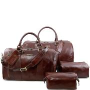 Ensemble de Voyage Cuir Colomb Marron -Tuscany Leather-