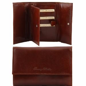 Portefeuille Cuir 5 Compartiments Femme Marron -Tuscany Leather-