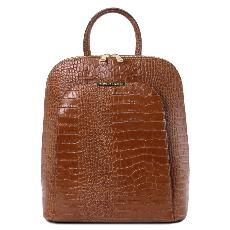Sac à Dos Transformable Croco Femme Marron - Tuscany Leather -