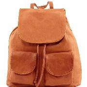 Sac à Dos Cuir Souple à Poches Camel -Tuscany Leather