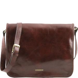 Sac Bandoulière Cuir Homme Marron -Tuscany Leather -