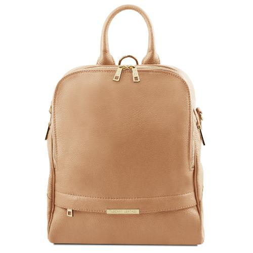 Sac à Dos Cuir Transformable Femme Beige  - Tuscany Leather -
