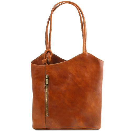 Sac Cuir Convertible Sac à Dos Femme Camel  -Tuscany Leather-