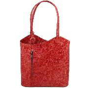 Sac à Dos Cuir Transformable Femme Rouge - Tuscany Leather -