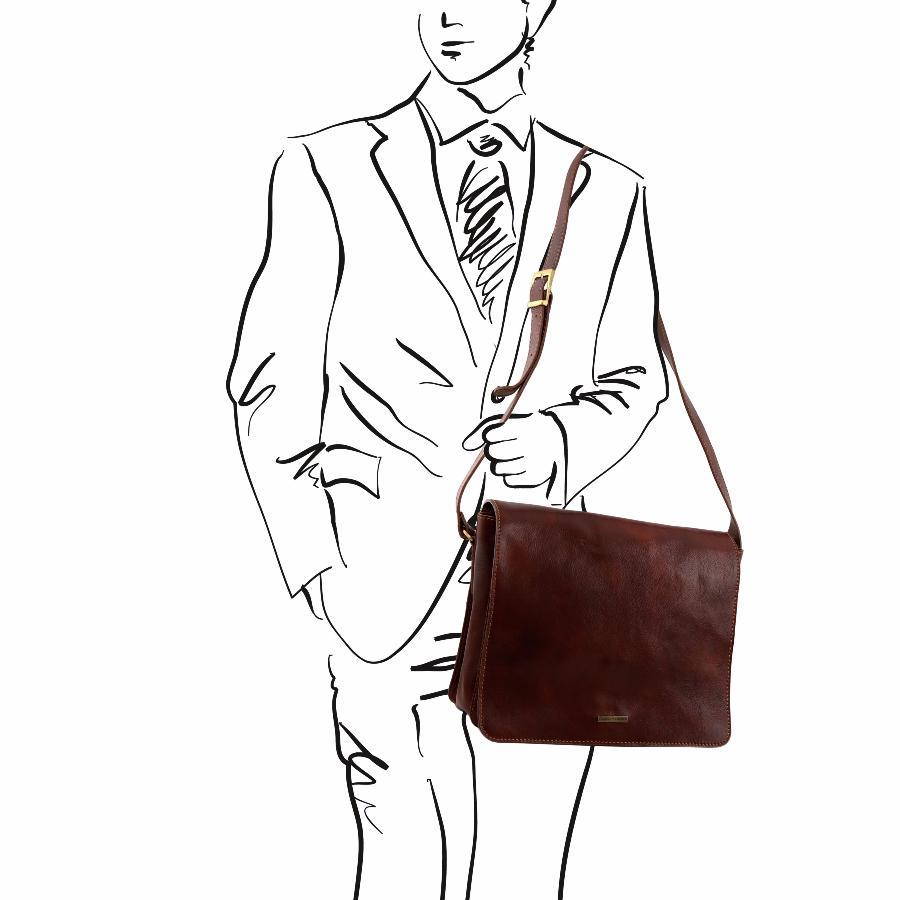 Sac à Bandoulière Ordinateur : Sac bandouli?re cuir porte ordinateur homme tuscany leather