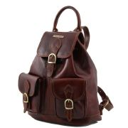 Sac a Dos Cuir Vintage Femme Marron -Tuscany Leather-