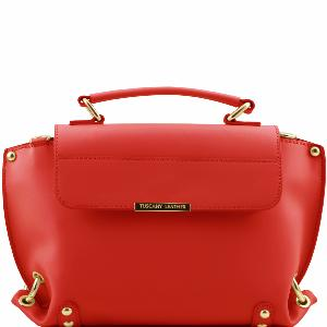Destock Sac Cartable Cuir Femme Rouge -Tuscany Leather-