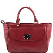 Sac a Main Cuir Femme 2 Compartiments Rouge - Tuscany Leather-