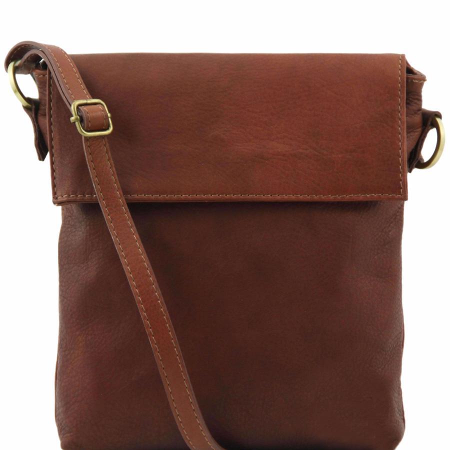 Sac Bandoulière Homme Cuir Marron -Tuscany Leather-