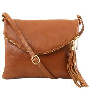 Small Leather Shoulder Bag for Women  Camel- Tuscany Leather -