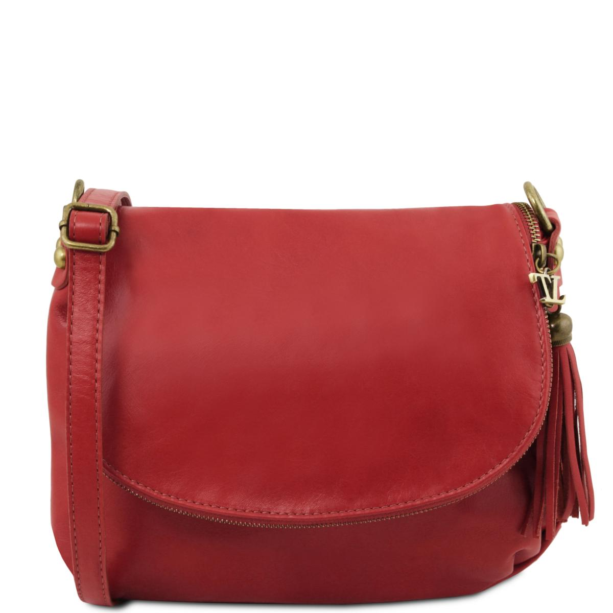 Sac Bandoulière Cuir Besace Femme Rouge - Tuscany Leather -