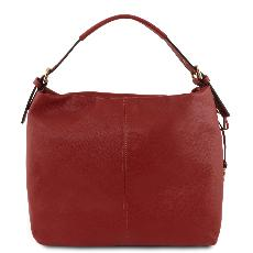 Sac Hobo Cuir Souple Epaule Femme Rouge  - Tuscany Leather -
