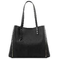 Grand Sac Fourre Tout Cuir Femme Noir  - Tuscany Leather -
