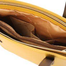 Sac Cabas Cuir Femme Jaune Moutarde  - Tuscany Leather -