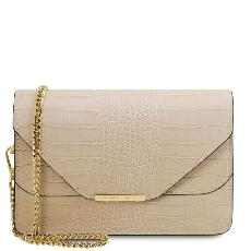 Sac Bandoulière Cuir Croco Chainette - Tuscany Leather -