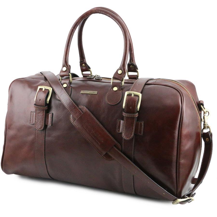 Tuscany Leather TL Voyager Sac de voyage en cuir avec boucles- Grand modèle Marron iKOM2tN
