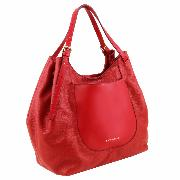 Grand Sac Fourre-Tout Epaule Rouge Cuir Souple  Femme - Tuscany leather -