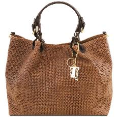 Sac Cuir Daim Tressé Femme Marron - Tuscany Leather -