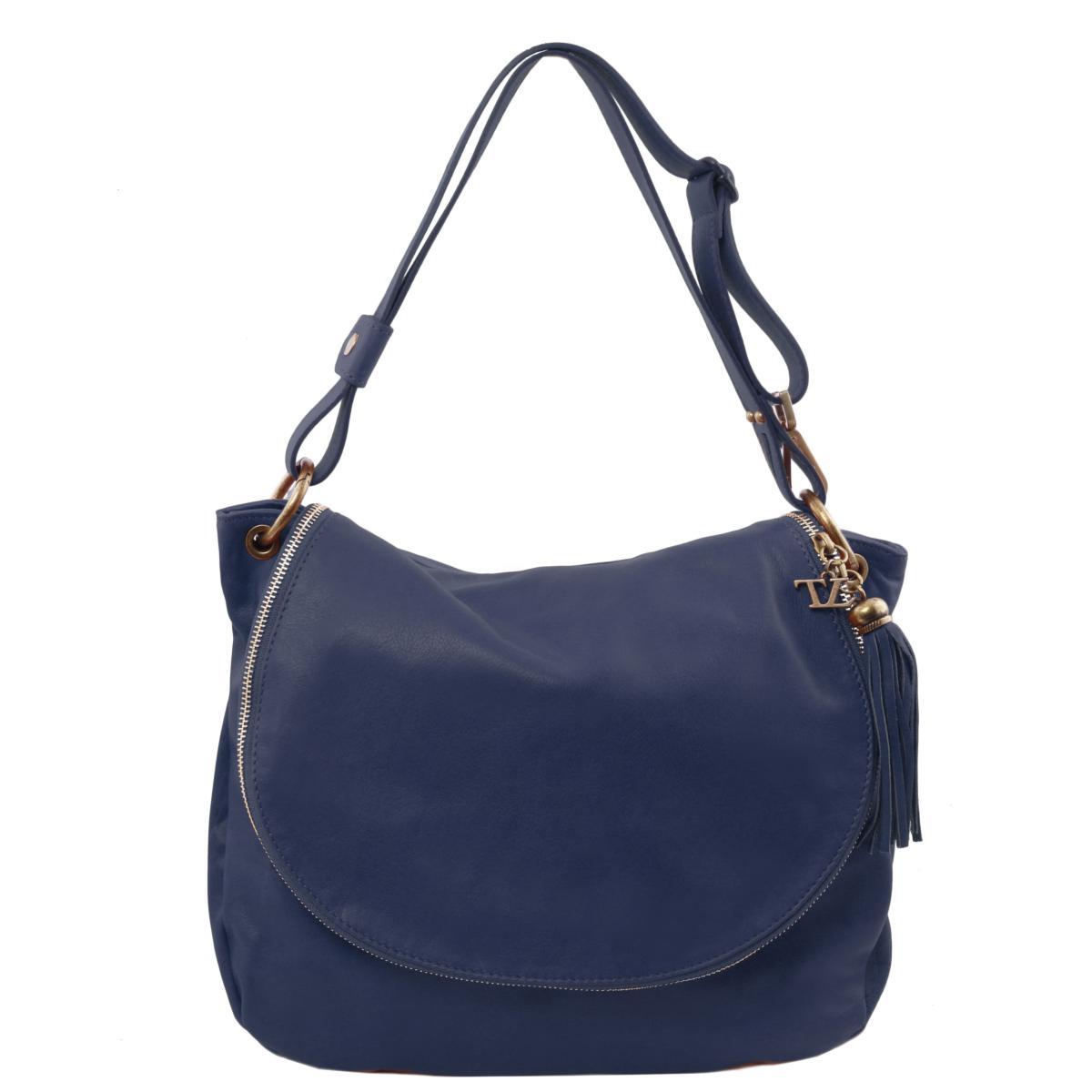 95cdc6a5a2ab Sac Cuir Bandoulière Besace Femme Bleu -Tuscany Leather - Bleu