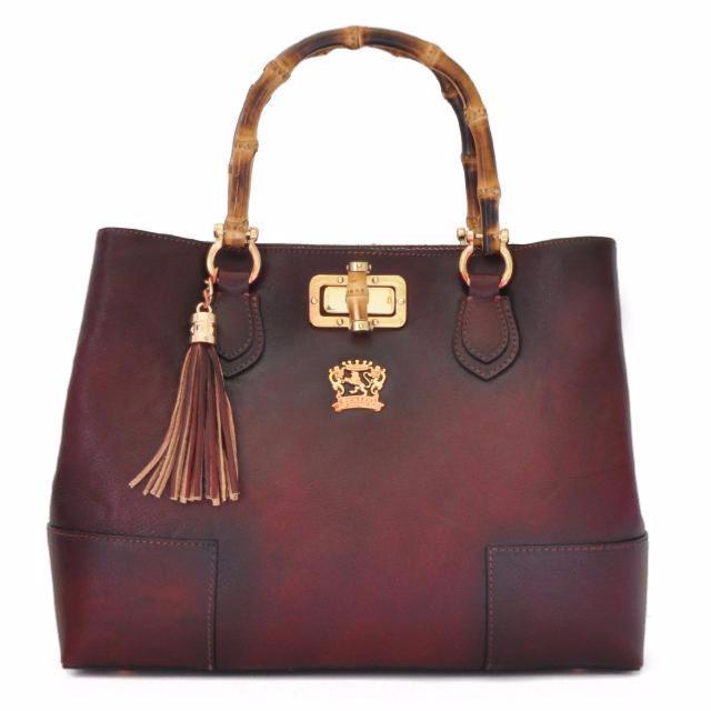 nouveau produit 86737 e6165 Sac Cuir Femme Anse Bambou Bordeaux - PRATESI -