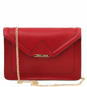 Sac Cuir Chainette Femme Rouge - Tuscany Leather -