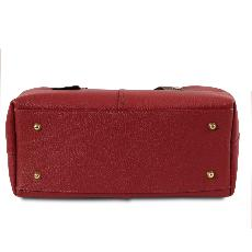 Sac Shopping Epaule Cuir Femme Rouge - Tuscany Leather -