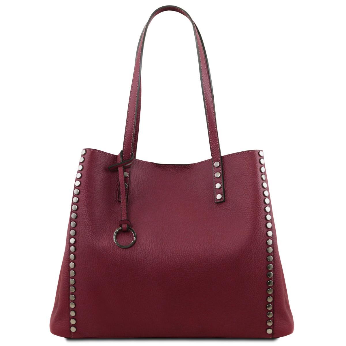 nouveau concept ac912 d3a6a Grand Sac Fourre Tout Cuir Souple Femme Bordeaux - Tuscany Leather -