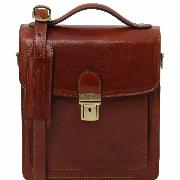 Sac Bandoulière Cuir Homme 3 Compartiments Marron -Tuscany Leather-