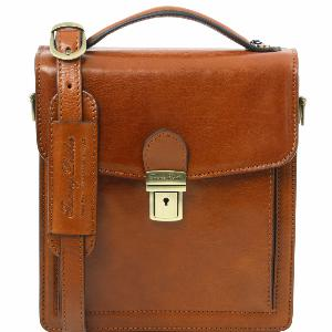 Sac Bandoulière Cuir Homme 3 Compartiments Miel -Tuscany Leather-