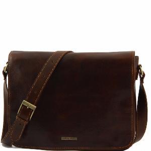 d50af8e144 Sac Besace Messenger Cuir Homme - Tuscany Leather -