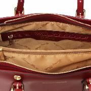 Sac Cuir Cabas Femme Aura Rouge - Tuscany Leather -