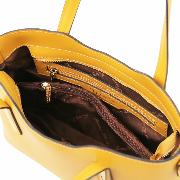 Promo Sac Cuir 2 Compartiments Femme Jaune - Tuscany Leather -