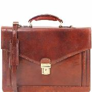 Cartable Cuir  Plusieurs Compartiments Marron -Tuscany Leather-