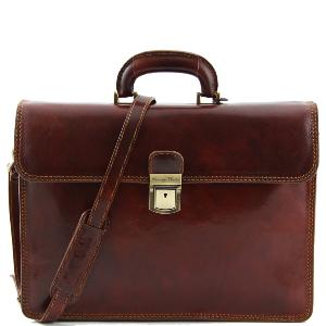 Cartable Cuir Vintage  2 Compartiments Marron  -Tuscany Leather-