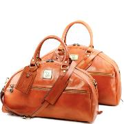 Leather Travel Set for Men or Women Honey - Tuscany Leather -