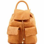 Promo Sac à Dos Femme Cuir Souple Poches Cognac -Tuscany Leather-