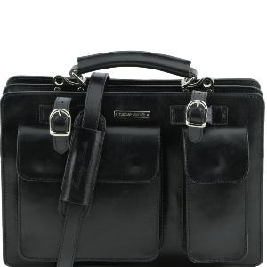 design intemporel 14646 db1f9 Sac Cartable Cuir Femme Noir - Tuscany Leather -