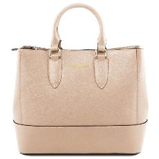 Solde Sac Cuir Femme 2 Compartiments Beige - Tuscany Leather -