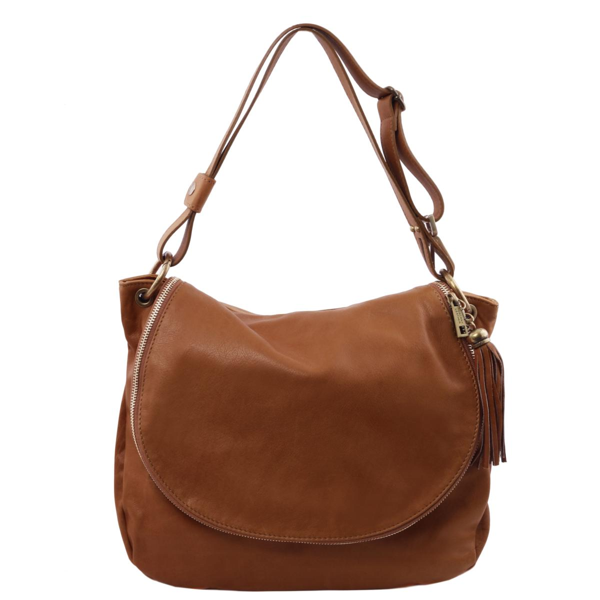 Destockage Grand Sac Cuir Bandoulière Besace Femme Marron Clair - Tuscany  Leather -