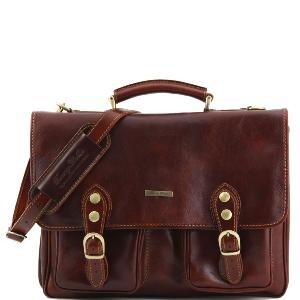 Cartable Cuir Marron Poches et Bandoulière -Tuscany Leather-