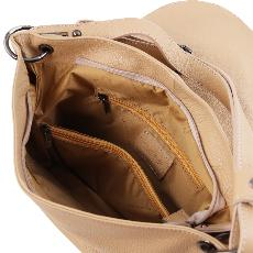 Sac Besace Cuir Grainé Femme Beige - Tuscany Leather -