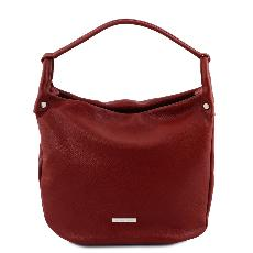 Sac Epaule Cuir Souple Femme Rouge -Tuscany Leather -