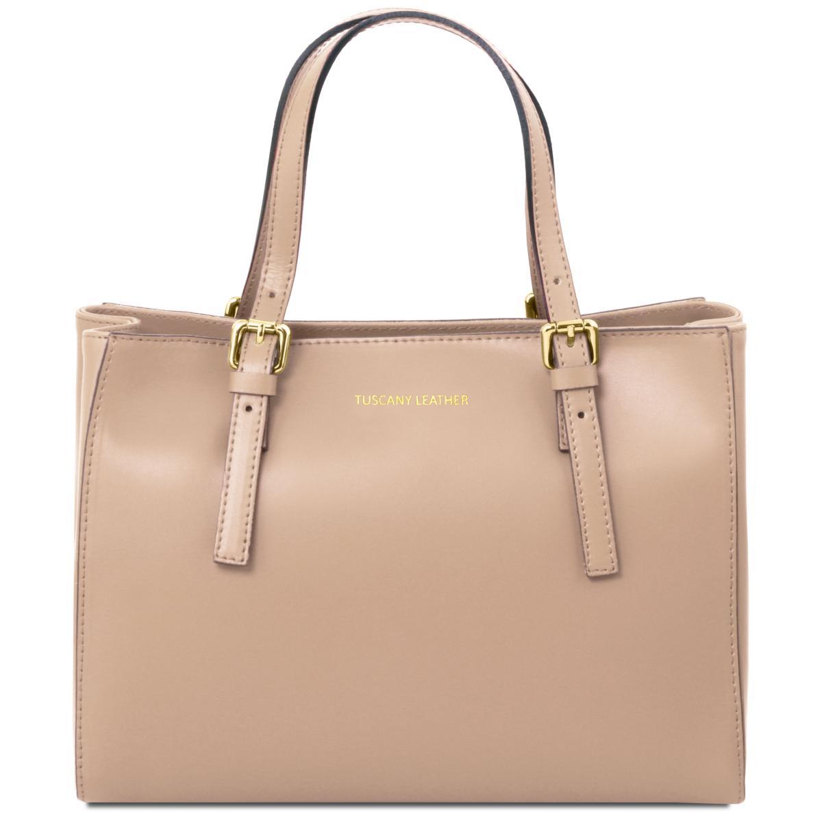 Sac Cuir Cabas Femme Beige - Tuscany Leather -