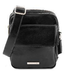 Sac Bandoulière Cuir 3 Compartiments Homme Noir - Tuscany Leather -