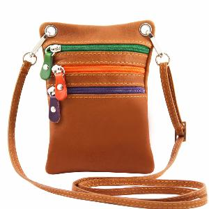 Sacoche Bandoulière Cuir Camel -Tuscany Leather -