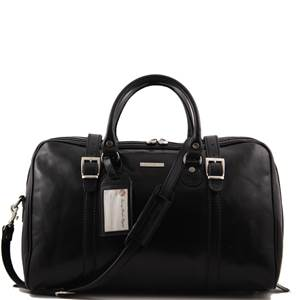Grand Sac de Voyage Cuir Noir  -Tuscany Leather-