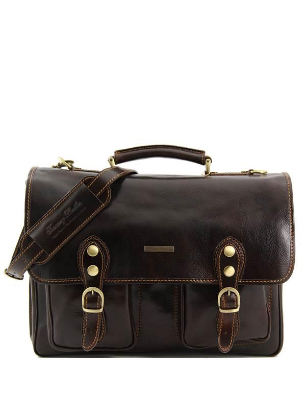 Sacoche de Travail Cuir Marron Foncé à Compartiments Tuscany Leather